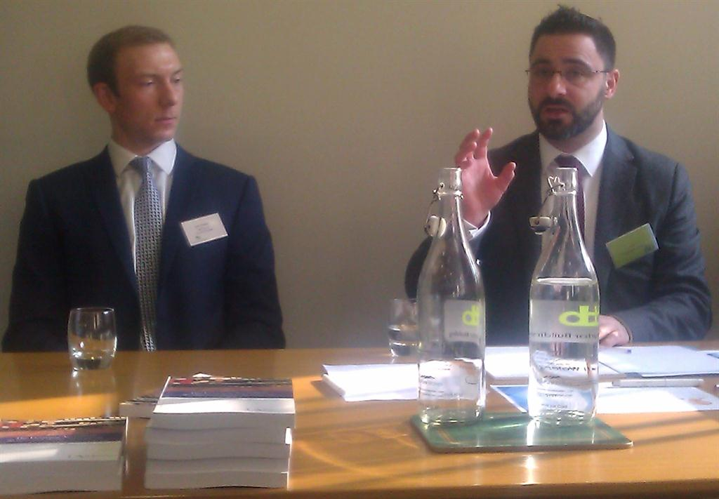 Jon Foster and Leo Charalambides answering questions at the report launch