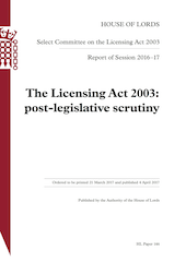 "Lords: Licensing Act ""needs major overhaul"" but problems only half diagnosed"