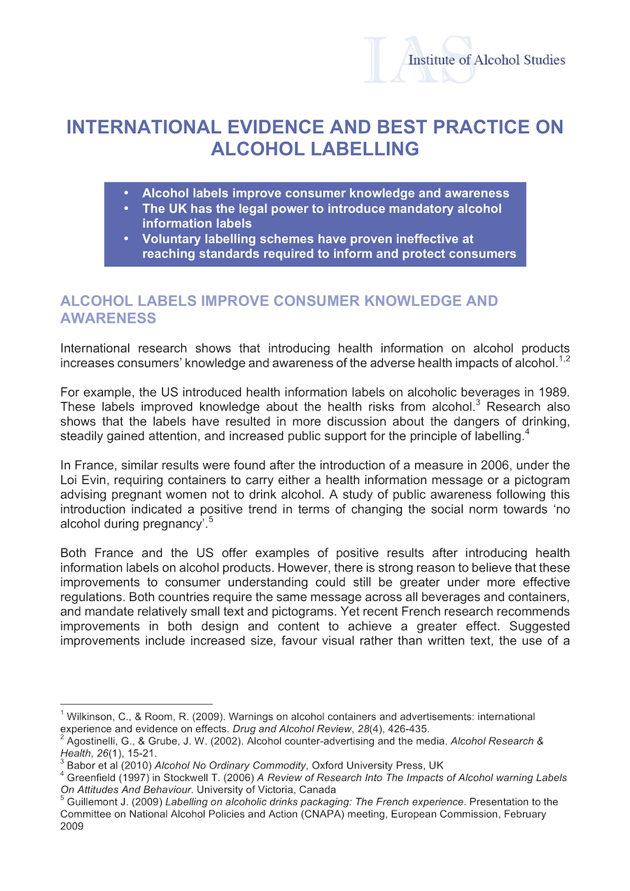 International evidence and best practice on alcohol labelling