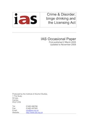 Crime and disorder, binge drinking and the Licensing Act 2003