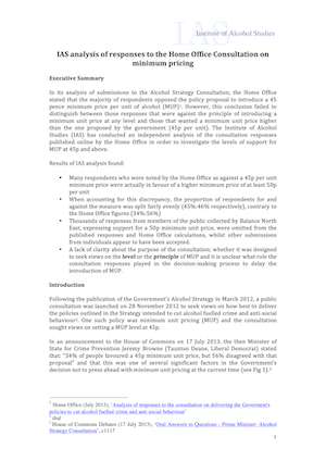 IAS analysis of responses to the Home Office Consultation on minimum pricing