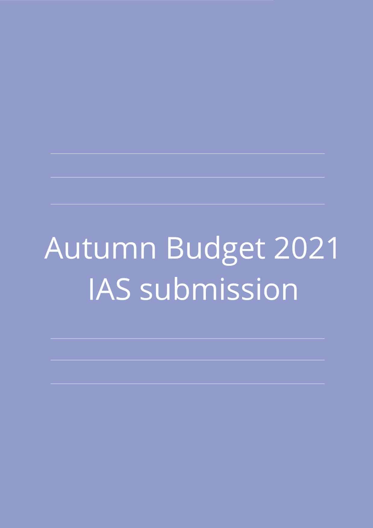 Autumn Budget 2021 – IAS submission